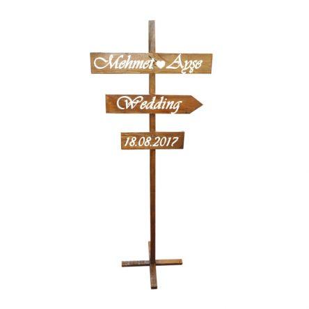 Ahşap Düğün Yönlendirme Tabelası